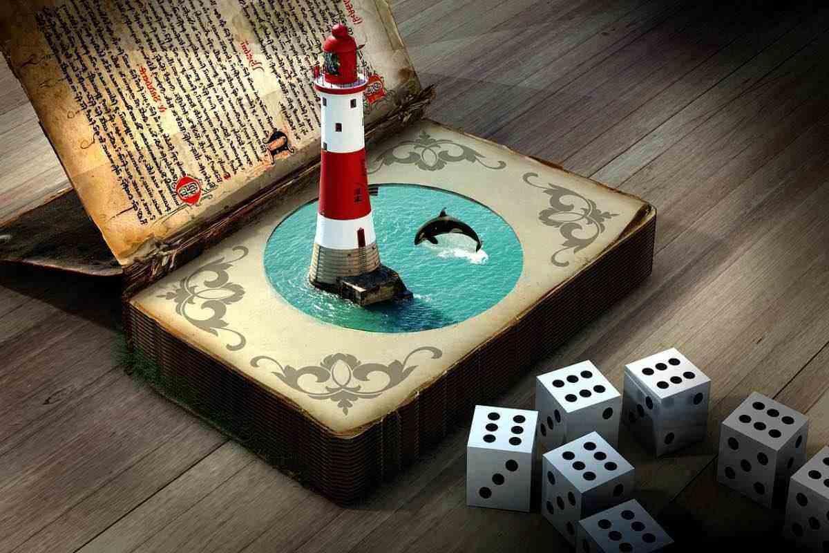 Livro aberto com um farol e golfinhos